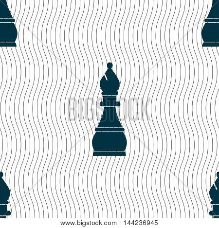Chess Bishop Sign. Seamless Pattern With Geometric Texture. Vector