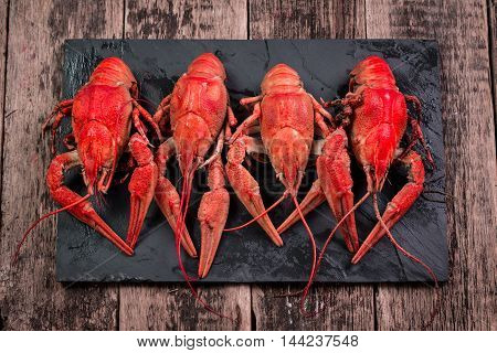 Fresh Boiled Crawfish On The Old Wooden Background