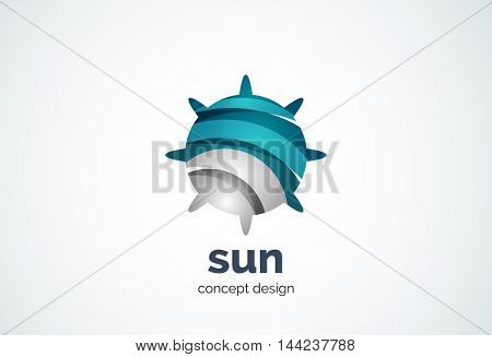Sun logo template, shining star concept - geometric minimal style, created with overlapping curve elements and waves. Corporate identity emblem, abstract business company branding element