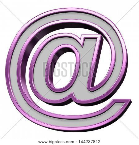 E-mail sign from gray with purple frame alphabet set, isolated on white. 3D illustration.