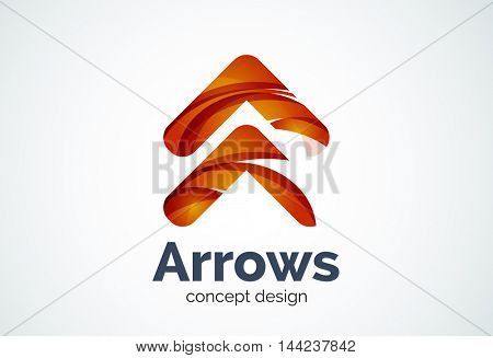 Arrow logo template, next or right concept. Modern minimal design logotype created with geometric shapes - circles, overlapping elements
