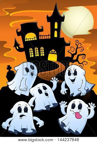 Ghosts near haunted house theme 1 - eps10 vector illustration.