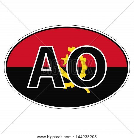 Sticker on car, flag Angola with the inscription AO vector for print or website design for language buttons