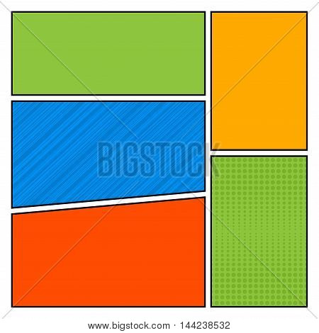 Comics pop art style blank layout template with dots pattern background vector illustration