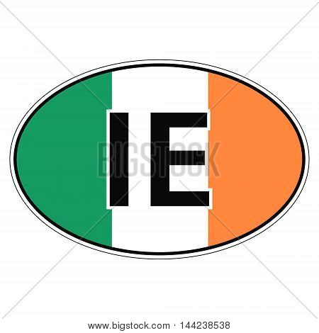Sticker on car, flag Ireland with the inscription IE vector for print or website design for language buttons