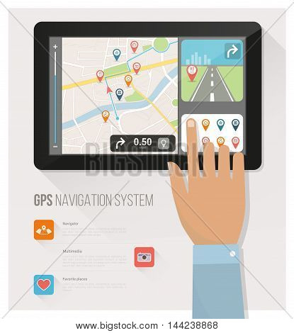 Gps navigation device and city map with pins and icons a hand is selecting icons
