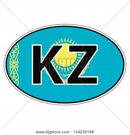 Sticker on car, flag kazakhstan, kazakhstani the inscription KZ vector for print or website design for language buttons