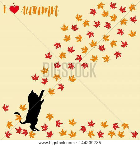 Cat and falling autumn leaves. Maple leaf, autumnal. Cats silhouettes