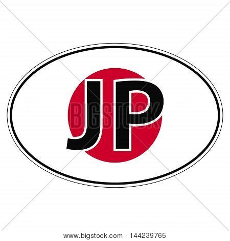 Sticker on car, flag of Japan with the inscription JP vector for print or website design for language buttons