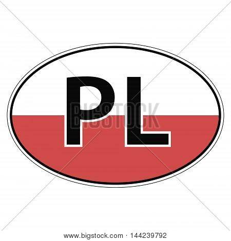 Sticker on car, flag of Poland with the inscription PL vector for print or website design for language buttons