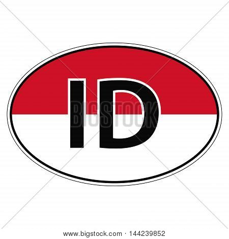 Sticker on car, flag of Republik Indonesia with the inscription ID vector for print or website design for language buttons