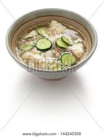 hiyajiru( cold miso soup ) , japanese summer cuisine