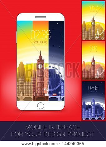 Mobile interface wallpaper design with cityscape. Vector illustration. Eps 10