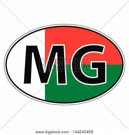 Sticker on car, flag Republic Madagascar with the inscription MG vector for print or website design for language buttons
