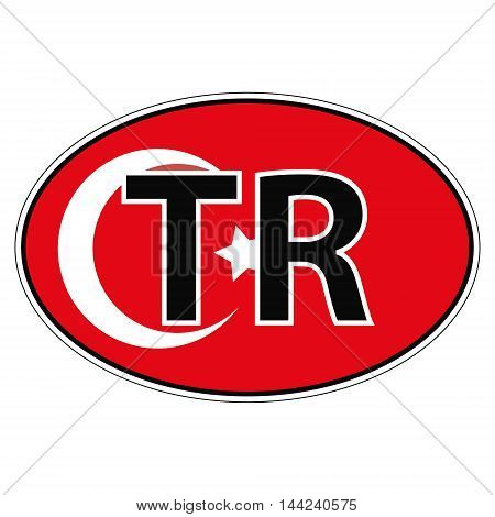 Sticker on car, flag Republic of Turkey with the inscription TR vector for print or website design for language buttons