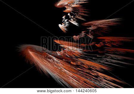 Fractal abstraction, flocks of fantastic birds flying on a black background
