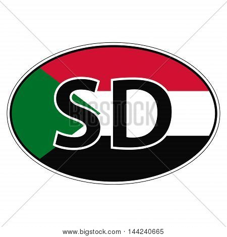 Sticker on car, flag Republic Sudan with the inscription SD vector for print or website design for language buttons
