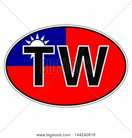 Sticker on car, flag Taiwan, Chinese Republic with the inscription TW vector for print or website design for language buttons