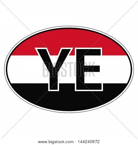 Sticker on car, flag Yemen with the inscription YE vector for print or website design for language buttons