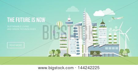 Futuristic green city with wind turbines and skyscrapers sustainability and innovation concept