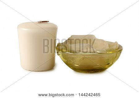 Wax candle on a white background
