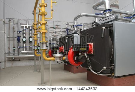 The equipment in a modern gas boiler-house