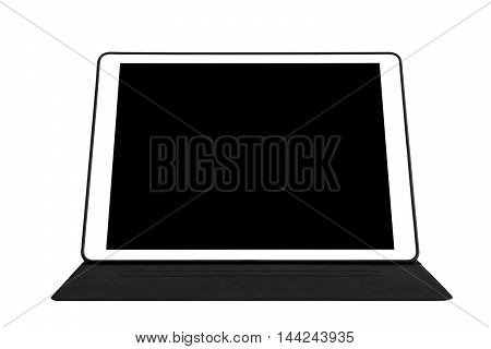 Digital tablet with pad, isolated on white background with copy space on screen