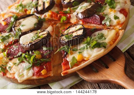 Pizza With Eggplant, Salami And Mozzarella Close Up On A Board. Horizontal