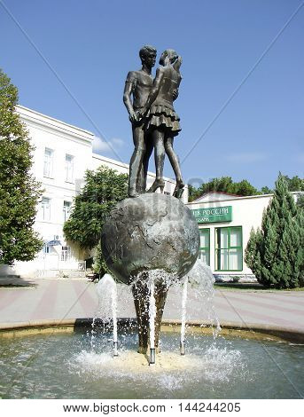 GELENDZHIK, RUSSIA - SEPTEMBER 4, 2011: Photo of Sculpture loving couple.