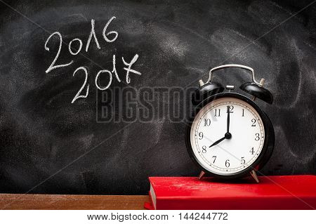 Year 2016 2017 School Chalk Board And Alarm Clock