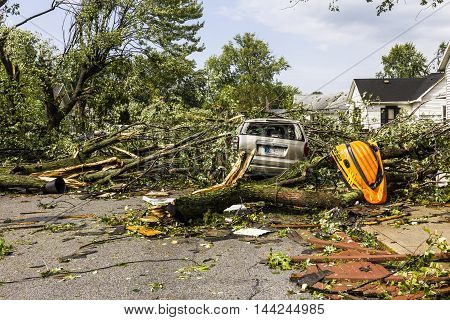 Kokomo - August 24 2016: Several EF3 tornadoes touched down in a residential neighborhood causing millions of dollars in damage. This is the second time in three years this area has been hit by tornadoes 2