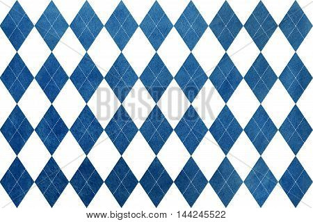 Vintage Watercolor Dark Blue Diamond Pattern.