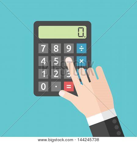 Hand Pushing Calculator Button