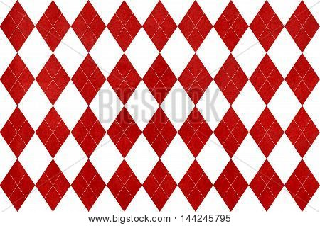 Vintage Watercolor Dark Red Diamond Pattern.