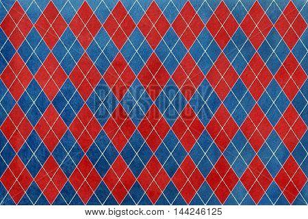 Vintage Watercolor Dark Blue And Dark Red Diamond Pattern.