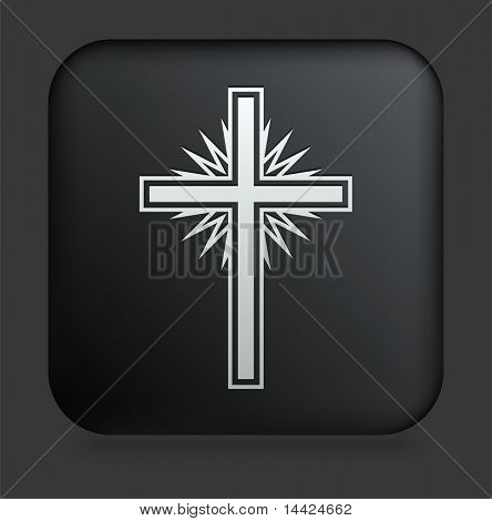 Cross Icon on Square Black Internet Button Original Illustration