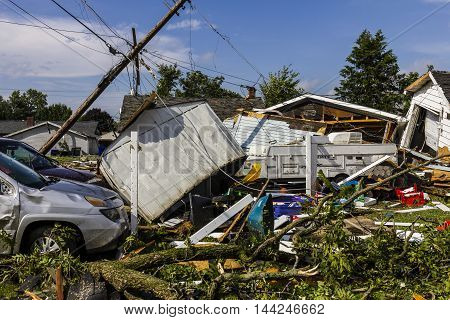 Kokomo - August 24 2016: Several EF3 tornadoes touched down in a residential neighborhood causing millions of dollars in damage. This is the second time in three years this area has been hit by tornadoes 23