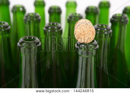 Bottles of champagne background. Packing production. Alcoholic production