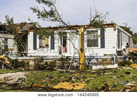 Kokomo - August 24 2016: Several EF3 tornadoes touched down in a residential neighborhood causing millions of dollars in damage. This is the second time in three years this area has been hit by tornadoes 28
