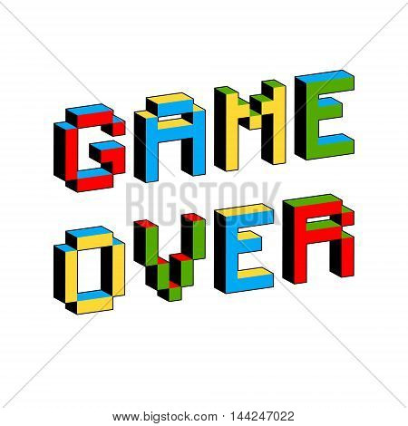 Game Over text in style of old 8-bit video games. Vibrant 3D Pixel Letters. Vector illustration. Flyer poster template. Computer Program Screen