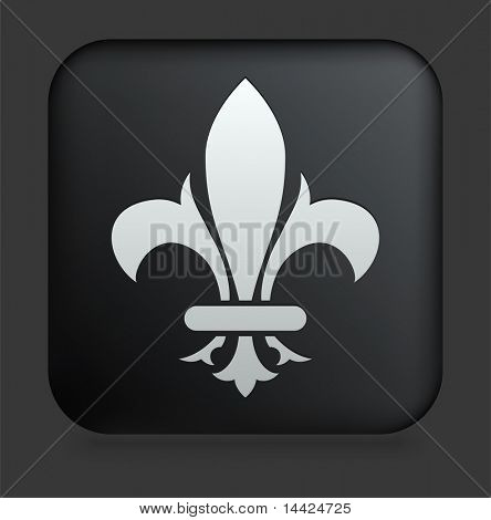 Fleur De Lis Icon on Square Black Internet Button Original Illustration