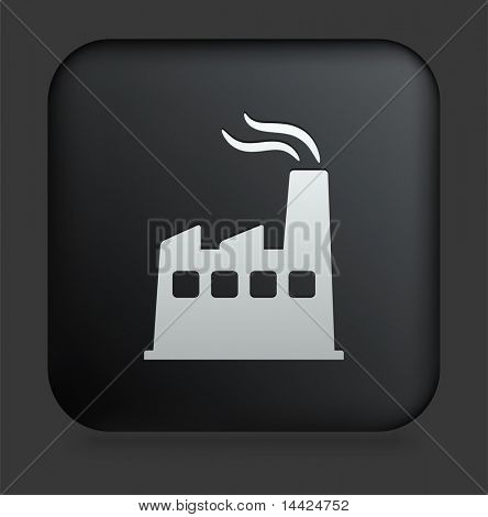 Factory Icon on Square Black Internet Button Original Illustration