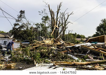 Kokomo - August 24 2016: Several EF3 tornadoes touched down in a residential neighborhood causing millions of dollars in damage. This is the second time in three years this area has been hit by tornadoes 37