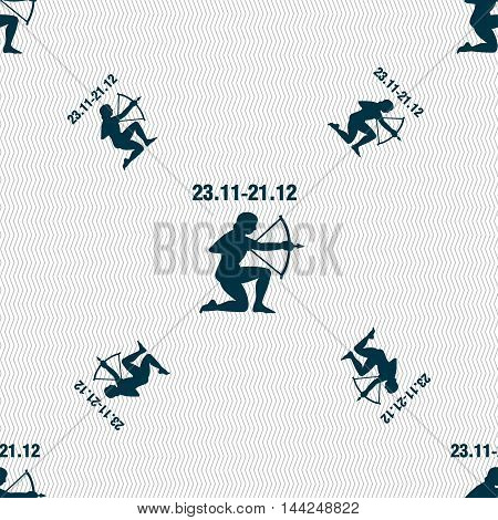 Sagittarius Sign. Seamless Pattern With Geometric Texture. Vector