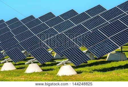 Solar panels placed on a countryside meadow of apulia