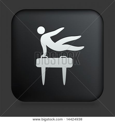 Pommel Horse Icon on Square Black Internet Button Original Illustration