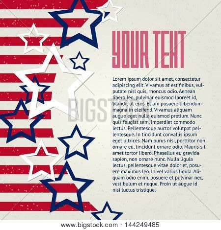 American abstract vector background with stars and stripes and place for your text.