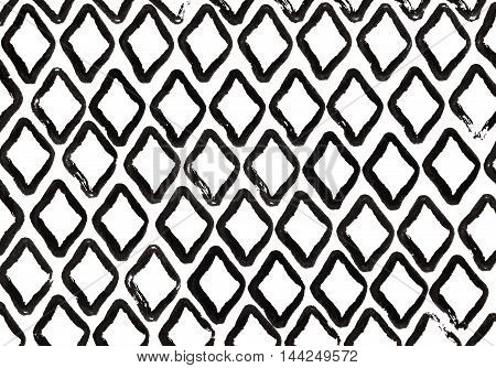 Grunge Diamond Black Strokes Pattern.