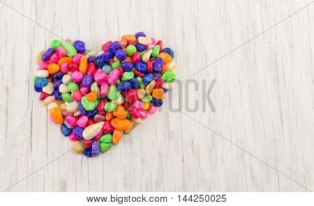 Colorful Rocks Forming A Heart Shape