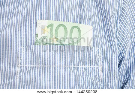 Closeup Of Euro Banknote In Front Pocket